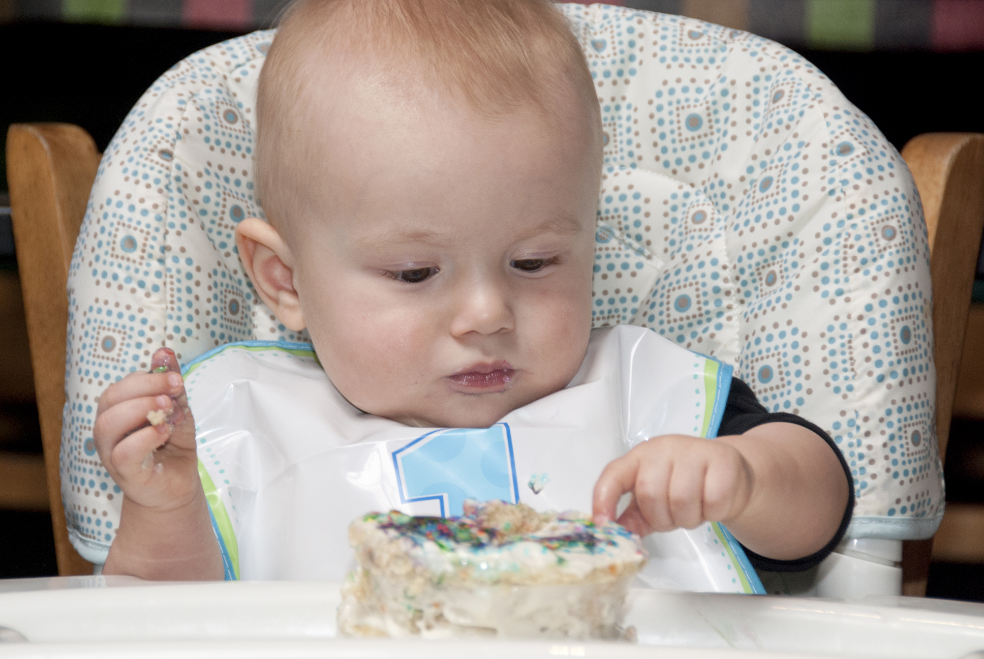 Baby Playing with Cake
