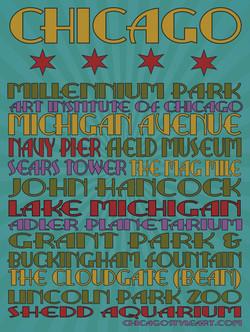 """18"""" x 24"""" Chicago Landmark Poster"""