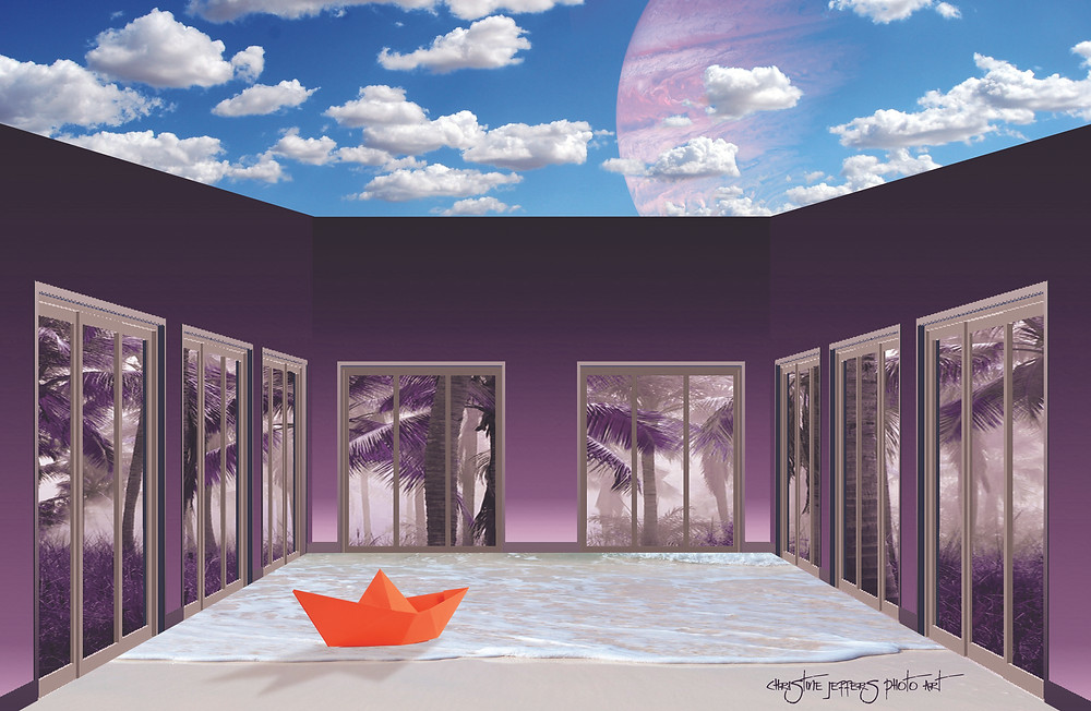 An Orange Paper Boat Floating on Water in a Purple Room with No Ceiling