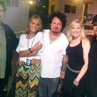Toto concert - Lee Montgomery, guitarist Steve Lukather, Laury and singer Joe Williams.