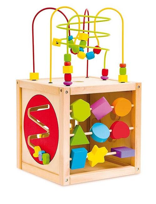 Daudzfunkcionāls koka rotaļu kubs