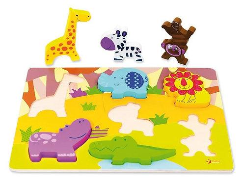 Koka 3D puzle - Savvaļas dzīvnieki