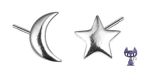 Ohrstecker Mond & Stern Silber rhodiniert