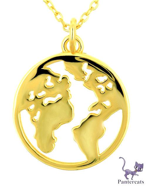 Collier Globus Silber vergoldet