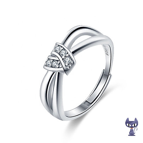 Ring mit Zirkonias Silber rhodiniert
