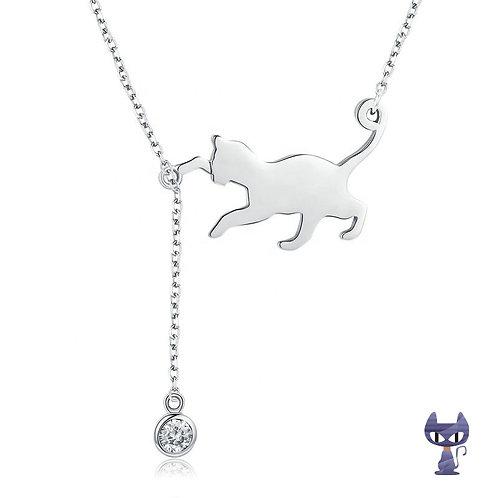 Collier Katze mit Zirkonia Silber rhodiniert