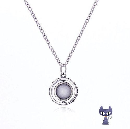 Collier Mond fluoreszierend Silber rhodiniert