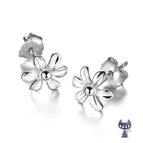 Ohrstecker Blume Silber rhodiniert