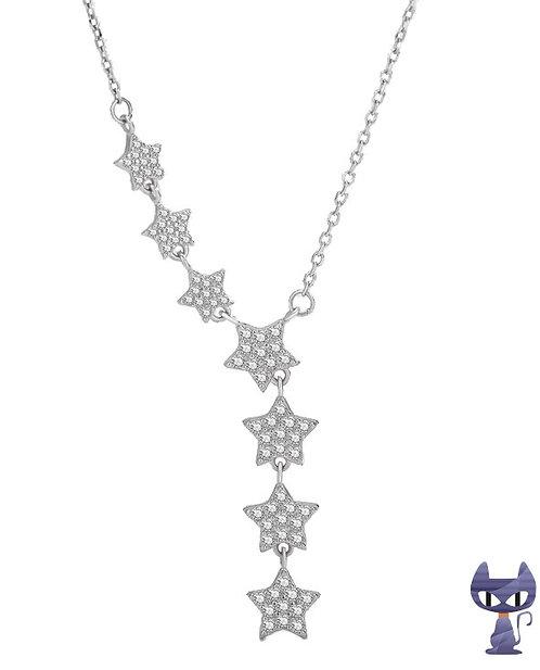 Collier Sterne mit Zirkonias Silber rhodiniert