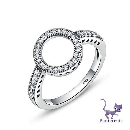 Ring Kreis mit Zirkonias Silber rhodiniert