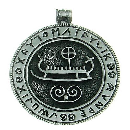 Silberanhänger Wikingerschiff mit Runen Groß