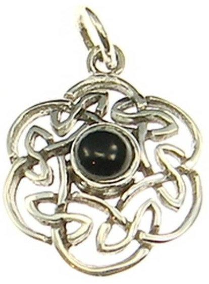 Silberanhänger keltischer Knoten mit Onyx