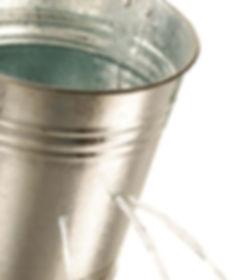 Tin Bucket Leaking Water