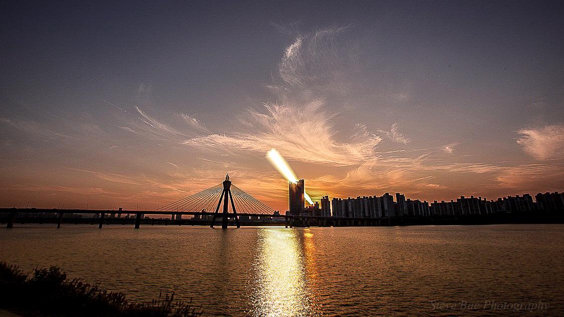 Sun trail of Olympic Bridge