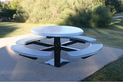 Solid Top Round Single Pedestal Picnic Table w/Diamond Pattern