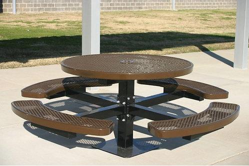 Round Single Pedestal Picnic Table with Diamond Pattern