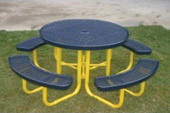 Round Portable Picnic Table w/Perforated Steel