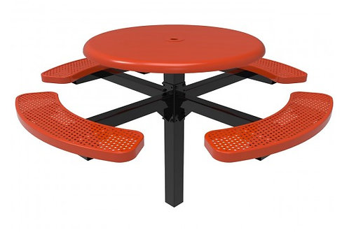 Solid Top Round Single Pedestal Picnic Table w/Perforated Steel