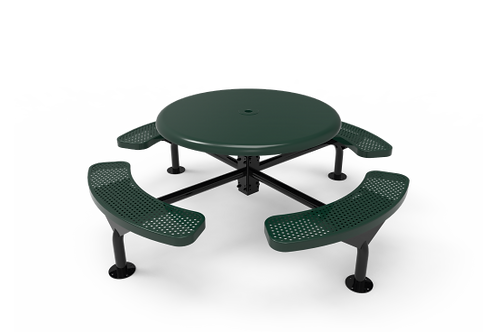 Solid Top Round Nexus Pedestal Table w/Perforated Steel