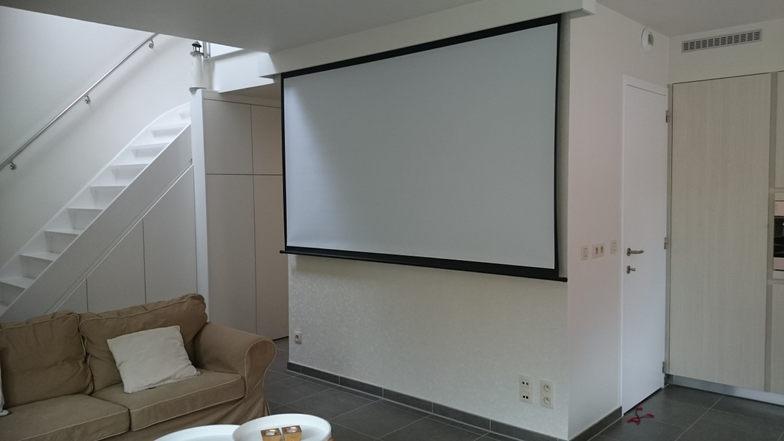 Foto van het scherm waarop de beamer projecteert