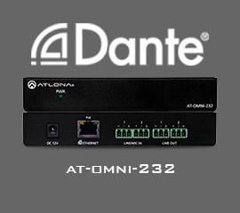 Два аудио входа и два выхода для работы с Dante