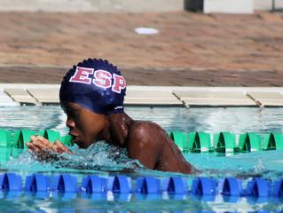 Kemptonian Clayton Malaza competing in Maputo at 1X Golfinhos Sprint Swim Gala