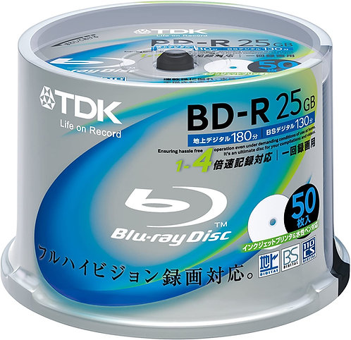 TDK Blu-ray Disc 50 Spindle - 25GB 4X BD-R - Printable - 100% GENUINE TDK