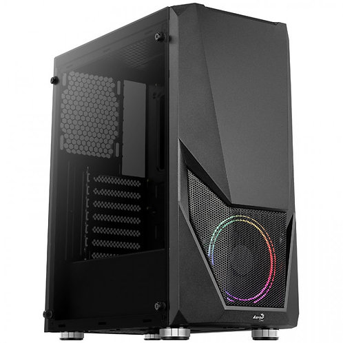 Aerocool Zauron RGB Black Mid Tower Tempered Glass PC Gaming Case