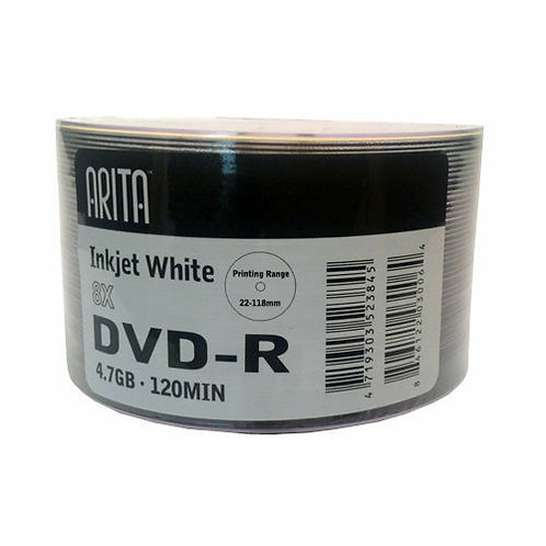 Arita Printable RITEK 8x Speed 4.7GB DVD-R - 50 PACK