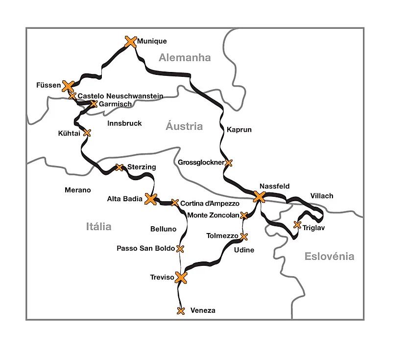 mapa roteiro de moto alpes