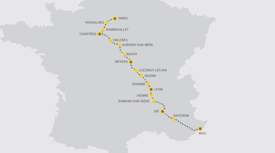 mapa viagem de moto na franca