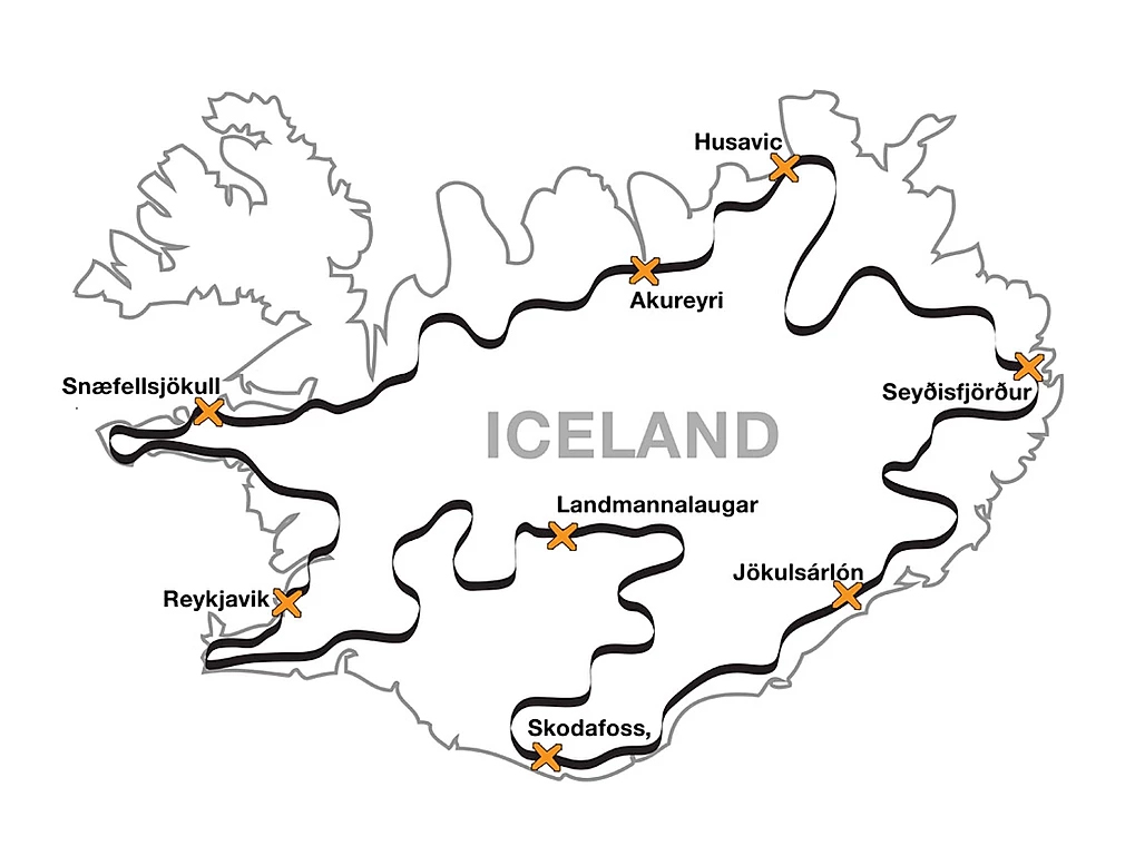 mapa roteiro moto islandia