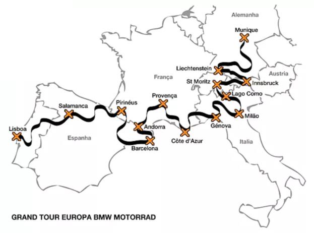 mapa roteiro viagem de moto europa