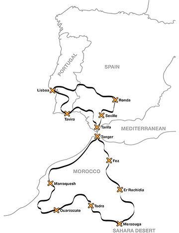 2019 Map roteiro de moto para Marrocos.j