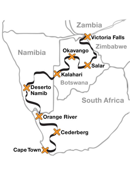 mapa roteiro moto africa do sul