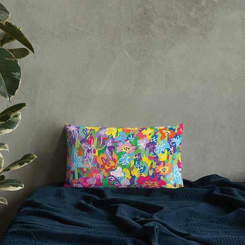 Bright Primary Colored Floral Premium Pillow