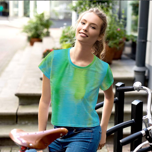 Lime Neon All-Over Print Crop Tee