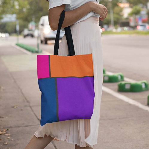 Retro Block Pattern in Orange Pink Blue and Purple Beach Bag