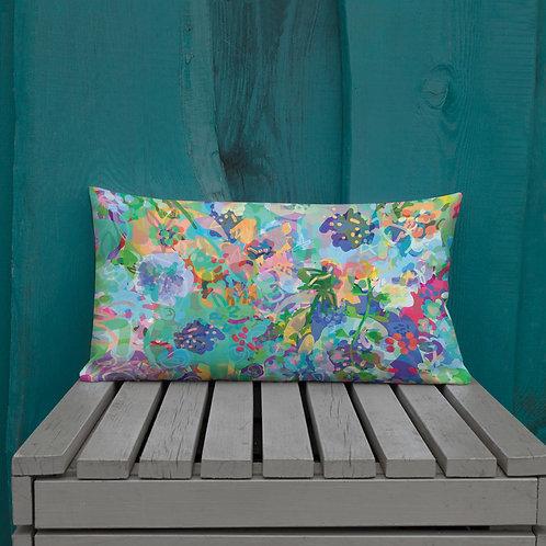 Floral Watercolor in Teal Premium Pillow