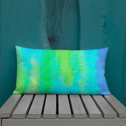 Neon Lime and Bright Blue Premium Pillow