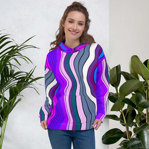 Purple and Blue Striped Unisex Hoodie