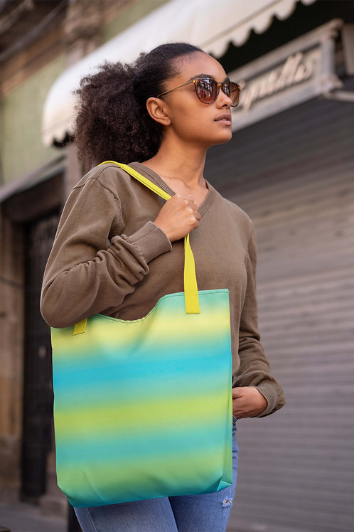 Tie Dye Blue Yellow Green Beach Bag