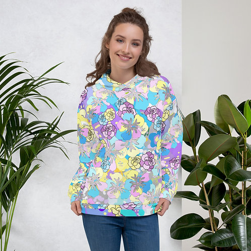 Floral Abstract Bouquet in Purple, Yellow, Blue and Gray Unisex Hoodie