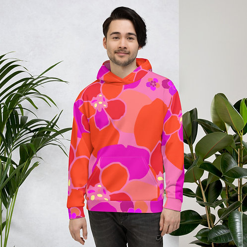 Flower Power Pink, Purple and Yellow Floral Unisex Hoodie