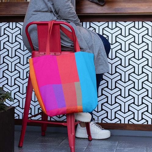 Shaded Multicolor Rectangle Flip Design Beach Bag