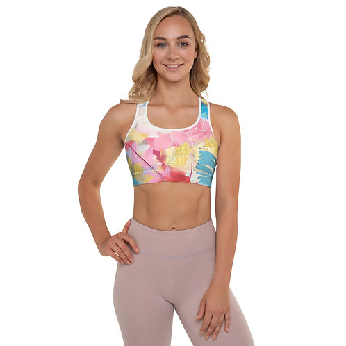 Soft Pink and Blue Abstract Padded Sports Bra