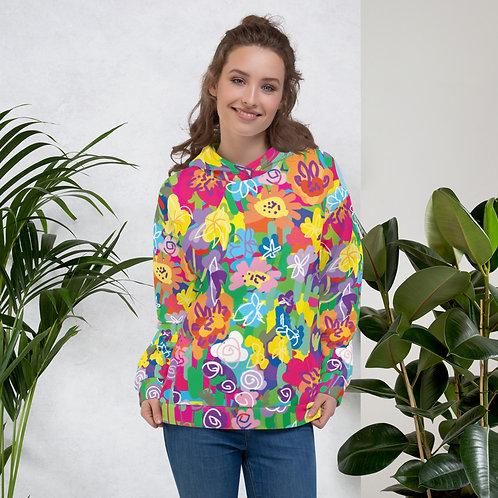 Primary Color Floral Unisex Hoodie
