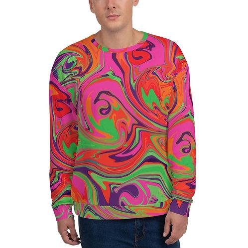 Psychedelic Neon Hot Pink, Lime Green, Orange and Purple Unisex Sweatshirt