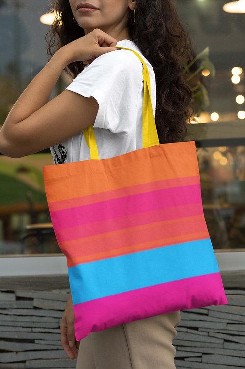 Stripe Orange Pink and Blue Beach Bag