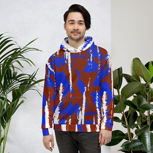 Blue and Brown Abstract with White Unisex Hoodie